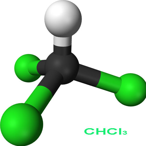 3D model molekuly chloroformu.