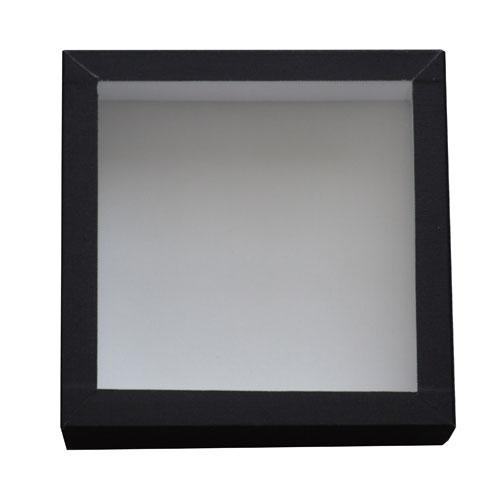 Entomologická škatuľa 15x15 so sklom a bielou penou potiahnutá čiernym knihárkym plátnom.