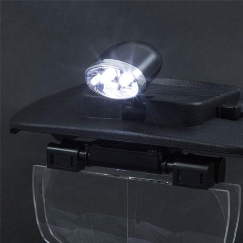 Čelová lupa s vymeniteľnými šošovkami a svetlom. Detail svetla.