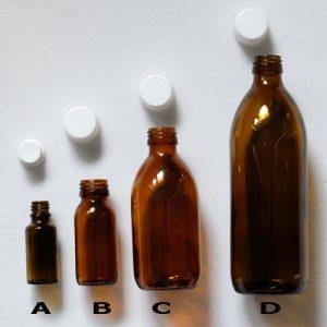 Flašky liekovky hnedé sklo 20ml, 60ml, 250ml, a 500ml