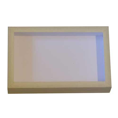 Entomologická škatuľa 23x15 vrch sklo, dno, potiahnutá bielym plátnom.