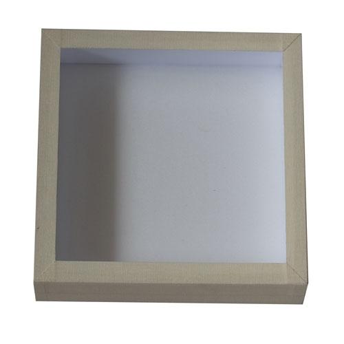 Entomologická škatuľa 18x18 so sklom a bielou penou vo vnútri potiahnutá vielym knihárskym plátnom.
