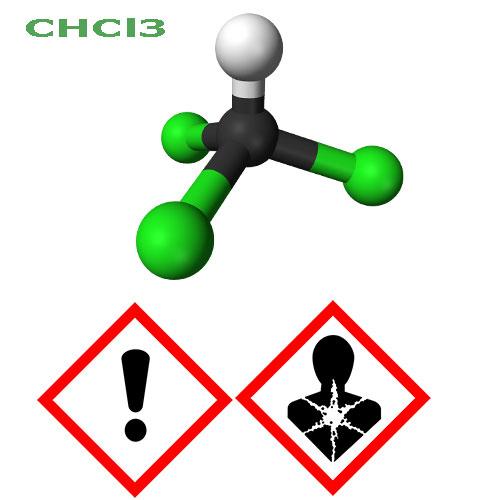 Chloroform molekula a yznačenie nebezpečenstva